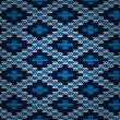 Seamless Blue Knitted Pattern — Stock Vector