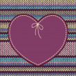 Valentine's day Card. Heart Shape Design with Knitted Pattern — Stock vektor