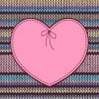 Valentine's day Card. Heart Shape Design with Knitted Pattern — Stok Vektör