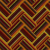 Seamless Knitted Pattern. Yellow Orange Red Brown Color Backgrou — Stockvector