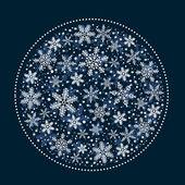 Jul bakgrund med vita snöflingor bollen — Stockvektor