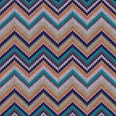 Knit Vector Seamless Pattern. Fashion Blue Green Orange White Gr — Stockvektor