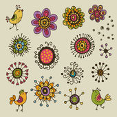 Floral elements design. Cartoon vector set with flowers and bird — Stock Vector