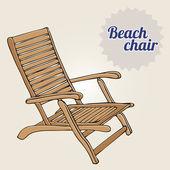 Ročníku ilustrace plážové lehátko — Stock vektor