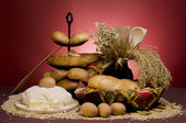 Bread food with dough,cereals, butter, eggs, spoon, jar and grai — Stock Photo