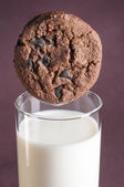 Chocolate chip cookies and milk — Stock Photo