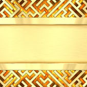 Blank golden plate on maze background with flame — Stock Photo