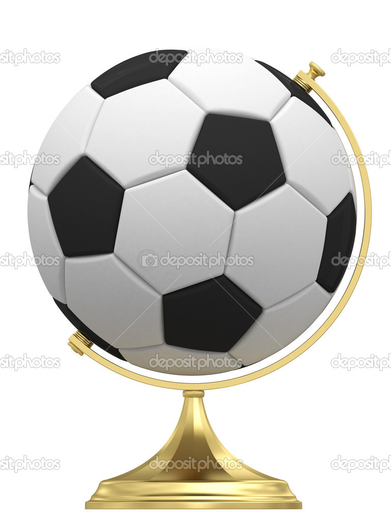 Soccer ball as terrestrial globe on golden stand isolated on white. High resolution 3D image — Stock Photo #13774826