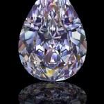 Diamond of drop shape on glossy black — Stock Photo