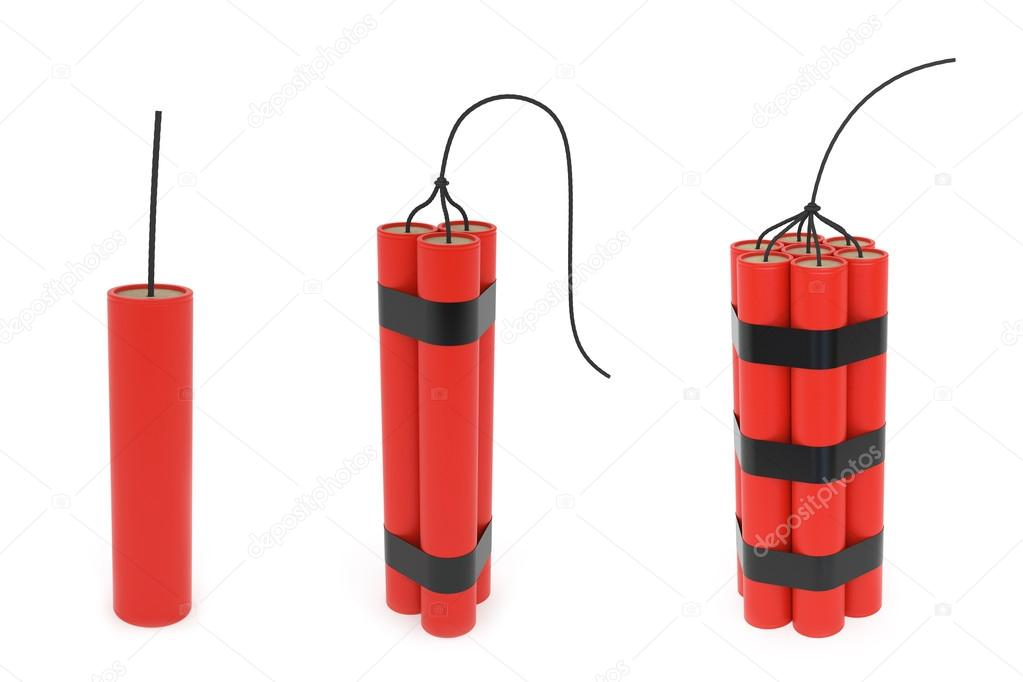 Set of different dynamites with wick on white background. High resolution 3D image — Lizenzfreies Foto #14269263