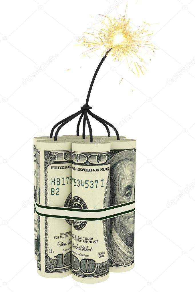 Dynamite composed of dollar bills with a burning wick. High resolution 3D image — Stock fotografie #15677085