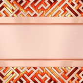 Blank bronze plate on maze background with flame — Photo