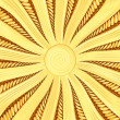 Golden sunburst background with rays and beams - Stock Photo