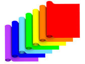 Rolls of rainbow color materials isolated on white — Stock Photo