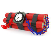 Time bomb with dynamite and clock detonator on white — Stock Photo
