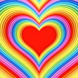 Colorful glossy heart shape with red center — Stock Photo