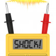 Stock Photo: Digital multimeter with SHOCK! word on display and electric flash