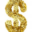 Big dollar sign composed of many golden small dollar signs on white — Stock Photo