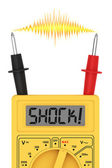 Digital multimeter with SHOCK! word on display and electric flash — Stock Photo