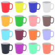 Set of colorful ceramic cups isolated on white — Stock Photo