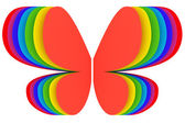 Butterfly shape symbol of rainbow colors on white — Stock Photo