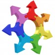 Colorful arrows joined into jigsaw puzzle wheel on white — Stock Photo