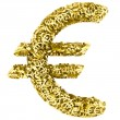 Big euro sign composed of many golden small euro signs on white — Stock Photo #33145489