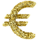 Big euro sign composed of many golden small euro signs on white — Stock Photo