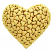 Heart shape composed of many golden hearts isolated on white — Stock Photo #34725531