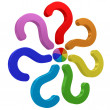 Colorful question marks conected to one center — Stockfoto