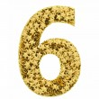 Number 6 composed of golden stars isolated on white — Stock Photo #36475809