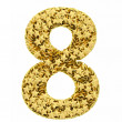 Number 8 composed of golden stars isolated on white — Stock Photo
