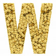Letter W composed of golden stars isolated on white — Stock Photo #36476001