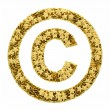 Copyright sign composed of golden stars isolated on white — Stock Photo #36476105