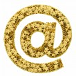At or email sign composed of golden stars isolated on white — 图库照片
