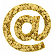 At or email sign composed of golden stars isolated on white — Stockfoto