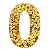 Number 0 composed of golden stars isolated on white — Stock Photo