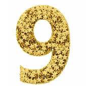 Number 9 composed of golden stars isolated on white — Stock Photo