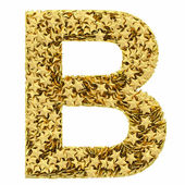 Letter B composed of golden stars isolated on white — Stock Photo