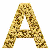 Letter A composed of golden stars isolated on white — Stock Photo