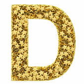 Letter D composed of golden stars isolated on white — Stock Photo