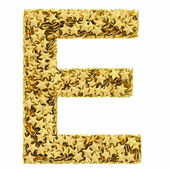 Letter E composed of golden stars isolated on white — Stock Photo