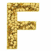 Letter F composed of golden stars isolated on white — Stock Photo