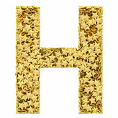 Letter H composed of golden stars isolated on white — Stock Photo