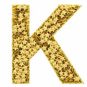 Letter K composed of golden stars isolated on white — Stock Photo