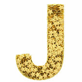 Letter J composed of golden stars isolated on white — Stock Photo