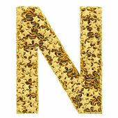 Letter N composed of golden stars isolated on white — Stock Photo