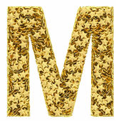 Letter M composed of golden stars isolated on white — Stock Photo