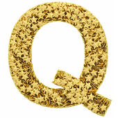 Letter Q composed of golden stars isolated on white — Stock Photo