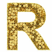 Letter R composed of golden stars isolated on white — Stock Photo